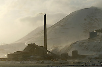 Powerplant using coal in the town of Longyearbyen. The Arctic island of Spitsbergen is the largest of islands in the group that makes up Svalbard. The islands are close to the North Pole and about 60% of the land mass is covered by glaciers. The main activities are mining, tourism and Arctic research. © Fredrik Naumann
