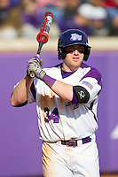 Ryan Retz (34) of the High Point Panthers waits for his turn to bat during the game against the Central Connecticut State Blue Devils at Willard Stadium on March 15, 2013 in High Point, North Carolina.  The Panthers defeated the Blue Devils 6-2.  (Brian Westerholt/Four Seam Images)