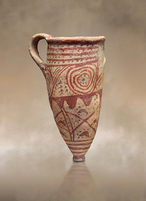 Cycladic conical rhython with spiral decorations.   Cycladic (1650-1450 BC) , Phylakopi III, Melos. National Archaeological Museum Athens.  Cat no 5791.<br /> <br /> Ceramic shapes and painted style are heavily influenced by Minoan styles during this period. Dark floral and spiral patterns are painted over a lighted backgound with wavy bands.
