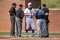 High Point Panthers head coach Craig Cozart (38) meets at home plate with NJIT Highlanders head coach Brian Guiliana and umpires Kevin Morgan, Randal Dulin, and Tommy Caudle prior to game one of a double-header at Williard Stadium on February 18, 2017 in High Point, North Carolina.  The Panthers defeated the Highlanders 11-0.  (Brian Westerholt/Four Seam Images)