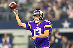 Minnesota Vikings quarterback Shaun Hill (13) in action during the pre-season game between the Minnesota Vikings and the Dallas Cowboys at the AT & T stadium in Arlington, Texas. Minnesota defeats the Cowboys 28 to 14.