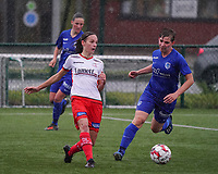 Essevee's Sheryl Merchiers (11) (L) and Genk's Ine Reyners (7) (R) in action during a female soccer game between the women teams of Zulte Waregem A Dames and KRC Genk Ladies B on the 1/16 th qualifying round for the Belgian Womens Cup 2020  2021 , on saturday 26 th of September 2020  in Zulte , Belgium . PHOTO SPORTPIX.BE | SPP | SEVIL OKTEM