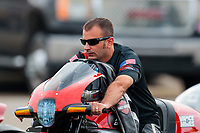 Aug 31, 2019; Clermont, IN, USA; NHRA pro stock motorcycle rider Eddie Krawiec during qualifying for the US Nationals at Lucas Oil Raceway. Mandatory Credit: Mark J. Rebilas-USA TODAY Sports