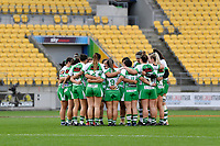 Manawatu Cyclones  team huddle together on the pitch at Farah Palmer Cup Rugby – Wellington v Manawatu at Sky Stadium, Wellington, New Zealand on Friday 25 September 2020. <br /> Photo by Masanori Udagawa. <br /> www.photowellington.photoshelter.com
