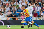 Rodrigo Moreno (l) of Valencia CF fights for the ball with Daniel Carvajal Ramos of Real Madrid during their La Liga 2017-18 match between Real Madrid and Valencia CF at the Estadio Santiago Bernabeu on 27 August 2017 in Madrid, Spain. Photo by Diego Gonzalez / Power Sport Images
