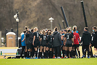 LOUISVILLE, KY - MARCH 13: Players of Racing Louisville FC huddle before going back onto the field during a game between West Virginia University and Racing Louisville FC at Thurman Hutchins Park on March 13, 2021 in Louisville, Kentucky.
