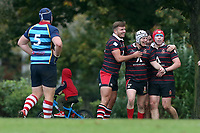 Campion celebrate their third try during Campion RFC vs Old Cooperians RFC, London 3 Essex Division Rugby Union at Cottons Park on 16th October 2021