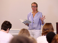 """March 18, 2011-Charlottesville, Virginia. USA; Virginia Bookfest author and rape victim Liz Securro spoke about her book """"Crash into me: Liz Seccurro's Story"""" detailing her fight for justice Friday at Newcomb Hall.  Photo/Andrew Shurtleff..."""