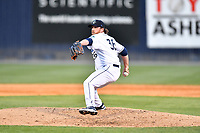 Asheville Tourists pitcher R.J. Freure (36) delivers a pitch during a game against the Brooklyn Cyclones on May 7, 2021 at McCormick Field in Asheville, NC. (Tony Farlow/Four Seam Images)