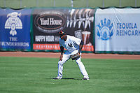 Scottsdale Scorpions right fielder Estevan Florial (19), of the New York Yankees organization, during an Arizona Fall League game against the Surprise Saguaros on October 27, 2017 at Scottsdale Stadium in Scottsdale, Arizona. The Scorpions defeated the Saguaros 6-5. (Zachary Lucy/Four Seam Images)