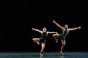 """London, UK. 14.03.2019. Ballet Black present a Triple Bill Featuring """"Ingoma"""" in the Barbican Theatre. The piece shown is: Pendulum. The choreographer is Martin Lawrance. Design is by Peter Todd with lighting design by David Plater. Picture shows: Sayaka Ichikawa and Mthuthuzeli November. Photograph © Jane Hobson."""