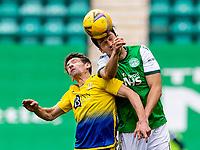 1st May 2021; Easter Road, Edinburgh, Scotland; Scottish Premiership Football, Hibernian versus St Johnstone;  Joe Newell of Hibernian wins header with Craig Bryson of St Johnstone