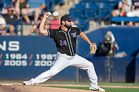 University of Washington Huskies Joe DeMers (24) delivers a pitch to the plate against the Cal State Fullerton Titans at Goodwin Field on June 10, 2018 in Fullerton, California. The Huskies defeated the Titans 6-5. (Donn Parris/Four Seam Images)
