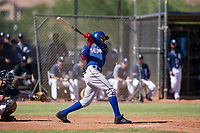 Texas Rangers outfielder Leody Taveras (37) follows through on his swing during an Instructional League game against the San Diego Padres on September 20, 2017 at Peoria Sports Complex in Peoria, Arizona. (Zachary Lucy/Four Seam Images)