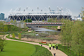 Construction workers carry out final checks. London 2012 Olympic Park and Stadium, Stratford.
