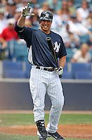 April 3, 2010:  First Baseman Mark Teixeira (25) of the New York Yankees waves to the crowd after hitting a foul ball line drive while playing in the annual Futures Game during Spring Training at Legends Field in Tampa, Florida.  Photo By Mike Janes/Four Seam Images
