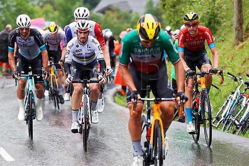 4th July 2021; Tignes, France;  TEUNS Dylan (BEL) of BAHRAIN VICTORIOUS and ALAPHILIPPE Julian (FRA) of DECEUNINCK - QUICK-STEP looking at COLBRELLI Sonny (ITA) of BAHRAIN VICTORIOUS attacking during stage 9 of the 108th edition of the 2021 Tour de France cycling race, a stage of 144,9 kms between Cluses and Tignes on July 4