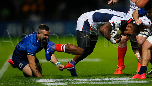 16th November 2020; RDS Arena, Dublin, Leinster, Ireland; Guinness Pro 14 Rugby, Leinster versus Edinburgh; Dave Kearney of Leinster ankle tackles Eroni Sau of Edinburgh