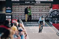 Senne Leysen (BEL) rolling off the start ramp<br /> <br /> MEN UNDER 23 INDIVIDUAL TIME TRIAL<br /> Hall-Wattens to Innsbruck: 27.8 km<br /> <br /> UCI 2018 Road World Championships<br /> Innsbruck - Tirol / Austria