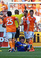 April 28, 2013: Houston Dynamo mid fielder Brad Davis #11 is assessed a red card by the official during second half Major League Soccer match in Houston  TX. Houston Dynamo draw 1-1 against Colorado Rapids.