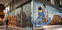 Pictured: Graffiti on shutters in Patission Street.<br /> Re: Street photography, Athens, Greece. Thursday 27 February 2020