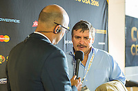 Orlando, Florida - Saturday, June 04, 2016: Costa Rican manager Oscar Ramirez is interviewed after the game ends in a 0-0 draw during a Group A Copa America Centenario match between Costa Rica and Paraguay at Camping World Stadium.