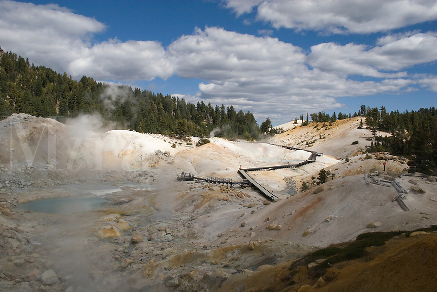 Geothermal activity creates sulphur hot pools at BUMPASS HELL in LASSEN NATIONAL PARK -  CALIFORNIA