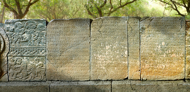 Pictures & images of the North Gate ancient Hittite stele stone slabs with carvings of the Phoenician language  known as the Karatepe bilingual, which allowed academics to translate Hittite hieroglyphs. 8th century BC discovered in 1946. Karatepe Aslantas Open-Air Museum (Karatepe-Aslantaş Açık Hava Müzesi), Osmaniye Province, Turkey.