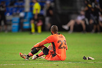 LAKE BUENA VISTA, FL - JULY 25: Clement Diop #23 of the Montreal Impact throws his gloves during a game between Montreal Impact and Orlando City SC at ESPN Wide World of Sports on July 25, 2020 in Lake Buena Vista, Florida.