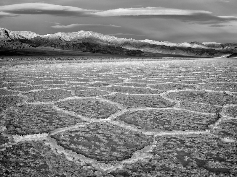 Salt polygons. Near Badwater. Death Valley National Park, California. Sky has been added.