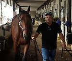 May18, 2015  American Pharoah returned to Churchill Downs following his win in the Preakness Stakes (ahown here with assistant trainer Jimmy Barnes.) He will prepare for the Belmont Stakes in New York on June 6. Owner Zayat Stables, trainer Bob Baffert. By Pioneerof The Nile x Littleprincessemma (Yankee Gentleman.) ©Mary M. Meek/ESW/CSM