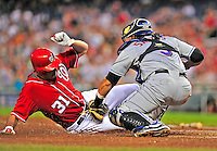 6 June 2009: Washington Nationals' pitcher John Lannan is thrown out at the plate on a Nick Johnson double in the bottom of the 6th inning against the New York Mets at Nationals Park in Washington, DC. The Nationals defeated the Mets 7-1, with Lannan throwing his first career complete-game giving up only 4 hits. Mandatory Credit: Ed Wolfstein Photo