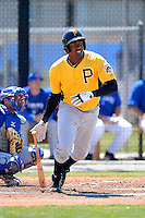 Pittsburgh Pirates outfielder Josh Bell #19 at bat during a minor league spring training game against the Toronto Blue Jays at Englebert Minor League Complex on March 16, 2013 in Dunedin, Florida.  (Mike Janes/Four Seam Images)