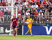 EAST HARTFORD, CT - JULY 5: Alyssa Naeher #1 of the USWNT holds the ball during a game between Mexico and USWNT at Rentschler Field on July 5, 2021 in East Hartford, Connecticut.