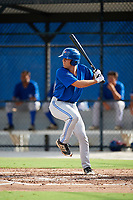 Toronto Blue Jays second baseman Cullen Large (3) at bat during an Instructional League game against the Pittsburgh Pirates on October 14, 2017 at the Englebert Complex in Dunedin, Florida.  (Mike Janes/Four Seam Images)