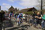 The breakaway including Anders Lund (DEN) Saxo Bank, Pablo Lastras Garcia (ESP) Movistar Team and Tyler Farrar (USA) Garmin-Baracuda approach the start of the Koppenberg climb during the 96th edition of The Tour of Flanders 2012, running 256.9km from Bruges to Oudenaarde, Belgium. 1st April 2012. <br /> (Photo by Steven Franzoni/NEWSFILE).