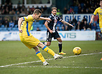 Ross County v St Johnstone…18.02.17     SPFL    Global Energy Stadium, Dingwall<br />Steven MacLean's shot is saved by Scott Fox<br />Picture by Graeme Hart.<br />Copyright Perthshire Picture Agency<br />Tel: 01738 623350  Mobile: 07990 594431