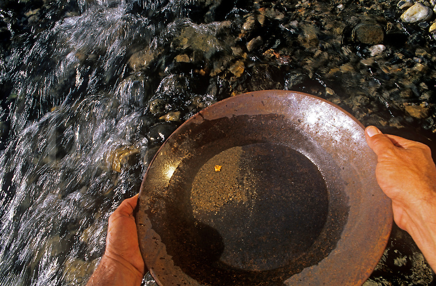 Panning for gold on the middle fork Yuba River California's Gold country