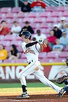 Brandon Bednar #5 of the Salem-Keizer Volcanoes bats against the Tri-City Dust Devils at Volcanoes Stadium on July 27, 2013 in Keizer, Oregon. Tri-City defeated Salem-Keizer, 5-4. (Larry Goren/Four Seam Images)