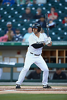 Daniel Palka (7) of the Charlotte Knights at bat against the Rochester Red Wings at BB&T BallPark on May 14, 2019 in Charlotte, North Carolina. The Knights defeated the Red Wings 13-7. (Brian Westerholt/Four Seam Images)