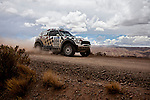 Car racer Nani Roma from Spain driving his Mini car during the 5th stage of the Dakar Rally 2016 in the Bolivian Altiplano.