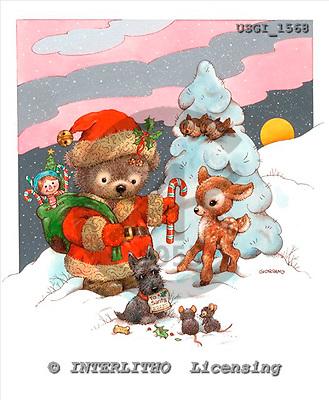 GIORDANO, CHRISTMAS ANIMALS, WEIHNACHTEN TIERE, NAVIDAD ANIMALES, Teddies, paintings+++++,USGI1568,#XA#