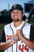 Lansing Lugnuts first baseman Rowdy Tellez (44) poses for a photo before a game against the Peoria Chiefs on June 6, 2015 at Cooley Law School Stadium in Lansing, Michigan.  Lansing defeated Peoria 6-2.  (Mike Janes/Four Seam Images)