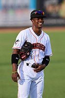 Jupiter Hammerheads third baseman Dalvy Rosario (7) during warmups before a game against the Palm Beach Cardinals on May 11, 2021 at Roger Dean Chevrolet Stadium in Jupiter, Florida.  (Mike Janes/Four Seam Images)