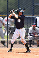 GCL Yankees 2 shortstop Angel Aguilar (2) at bat during a game against the GCL Braves on June 23, 2014 at the Yankees Minor League Complex in Tampa, Florida.  GCL Yankees 2 defeated the GCL Braves 12-4.  (Mike Janes/Four Seam Images)