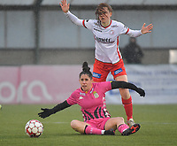 Summer Rogiers (8) of Zulte-Waregem and Ylenia Carabott (7) of Sporting Charleroi  pictured during a female soccer game between SV Zulte - Waregem and Sporting Charleroi on the eleventh matchday of the 2020 - 2021 season of Belgian Scooore Womens Super League , saturday 23 th of January 2021  in Zulte , Belgium . PHOTO SPORTPIX.BE | SPP | DIRK VUYLSTEKE