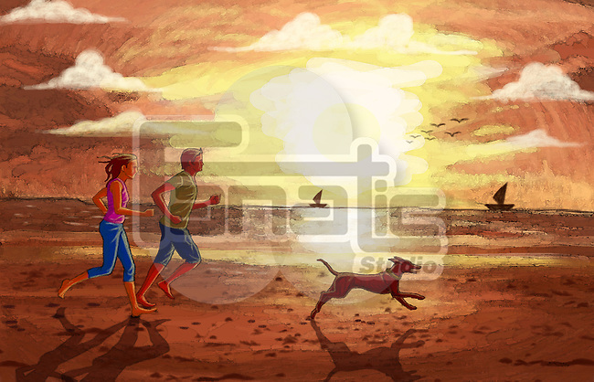 Illustration of couple jogging with dog at beach