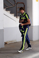 Valencia, Spain. Thursday 19 September 2013<br /> Pictured: Michu arriving at the Estadio Mestalla. <br /> Re: UEFA Europa League game against Valencia C.F v Swansea City FC, at the Estadio Mestalla, Spain,