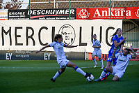 banner Merci Luc pictured during a female soccer game between  AA Gent Ladies and Club Brugge YLA on the third matchday of play off 1 in the 2020 - 2021 season of Belgian Scooore Womens Super League , friday 23 th of April 2020  in Oostakker , Belgium . PHOTO SPORTPIX.BE   SPP   STIJN AUDOOREN