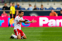 Tim Cahill (17) of the New York Red Bulls looks for a call. The New York Red Bulls defeated the Philadelphia Union 3-0 during a Major League Soccer (MLS) match at PPL Park in Chester, PA, on October 27, 2012.